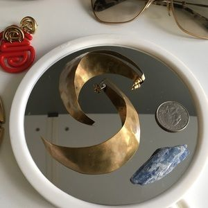Crescent copper hoop earrings
